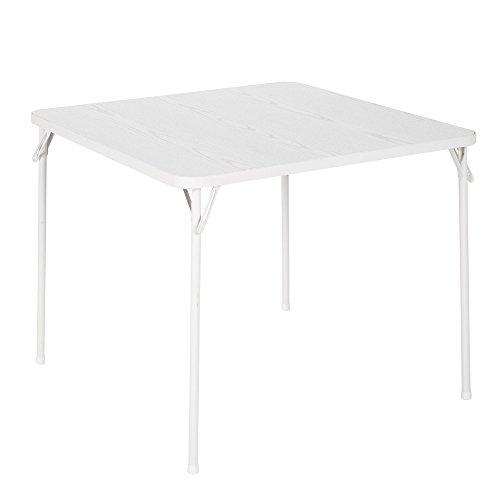 COSCO 34' Square Textured Wood Grain Resin Top Folding Table, Woodgrain White