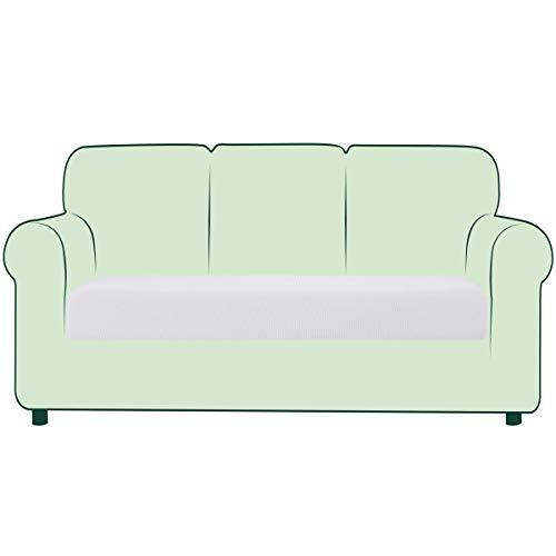 CHUN YI 1 Stück Sofa Sitzkissenbezug Stretch Sitzkissenschutz Elastischer Husse Überzug für Sofa Sitzkissen rutschfest Stoff Möbelschutz (Weiß, 3-Sitzer)