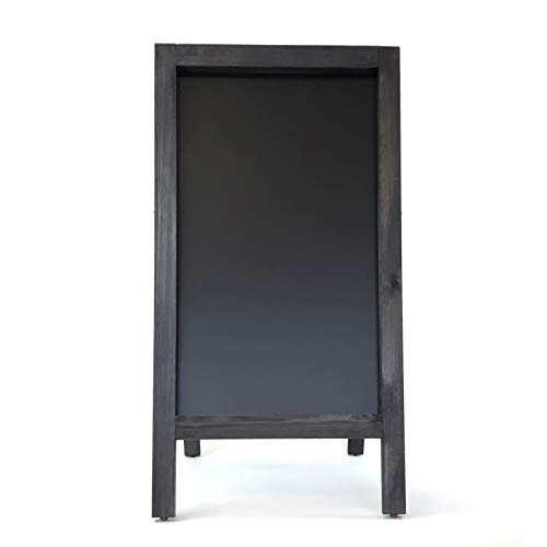 Pizarra caballete marco madera . Pizarra negra doble cara apta para tizas y rotuladores efecto tiza. Ideal para hostelería, infantil, restaurante, habitación niños, etc. (NEGRO, 90 X 50 cm)