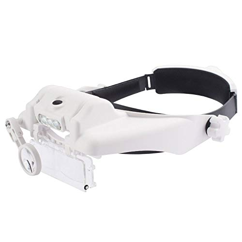 Price comparison product image Insten Head Mount Magnifier with LED Light,  Handsfree Magnifying Glass w / 3 Lenses,  Adjustable Headband,  for Close Work,  Jewelry Loupe,  Watch Repair,  Gaming