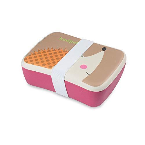 BIOZOYG Kinder Bento Lunchbox aus Bambus I Brotdose mit extra Snack Box I Mädchen und Junge Motiv Brotbox - Igel für Kindergarten I Lunch Set to Go BPA frei und 100% lebensmittelecht