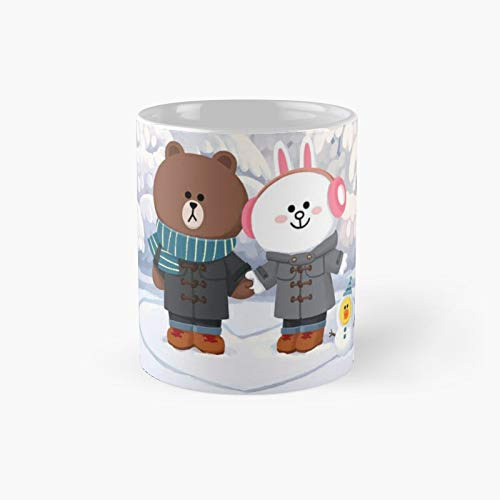 Brown Bear And Cony Bunny Rabbit Winter Love Classic Mug | Best Gift Funny Coffee Mugs 11 Oz