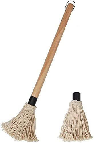 HFDY Cepillo profesional para parrilla, mopa para barbacoa, mango largo, cepillo para asar a la parrilla o limpiar botellas de vidrio (16.5 pulgadas)