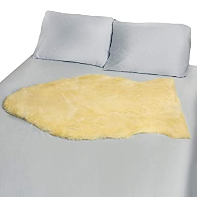 DMI Natural Sheepskin Wool Comfort Medical Mattress Bed Pad Bed Mat, Washable, 8 to 9 Square Feet, Beige