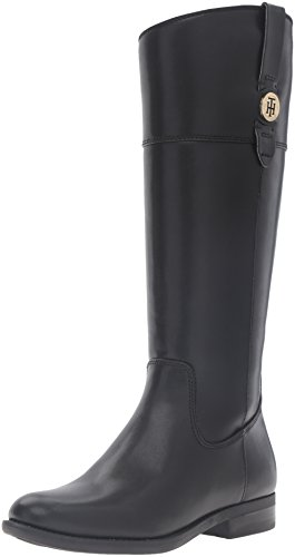 Tommy Hilfiger Women's Shano Riding Boot, Black, 8.5 M US