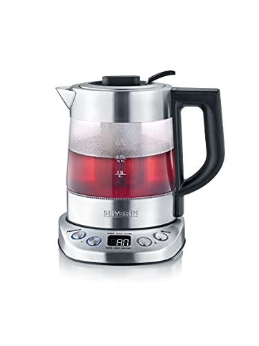 SEVERIN Tee-/ Wasserkocher Deluxe Mini, Glaswasserkocher für bis zu 1,0 l, elektrischer Teekocher mit Temperatureinstellung, gebürstet/schwarz, WK 3473
