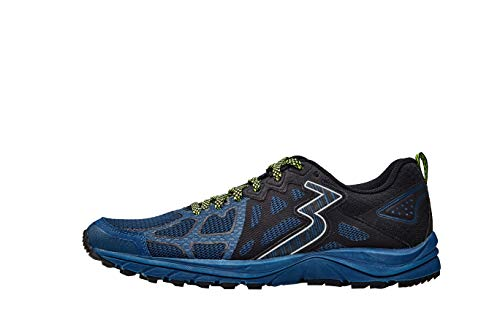 361 Degrees Men's Denali Mesh Upper Off-Road Trail Running Shoes, Poseidon/Black, 12, X-Wide,Model Number: Y839-6709-12
