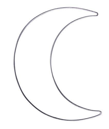Rayher 24124000 Media luna de alambre plateado, 19,5x25 cm, Luna de decoración
