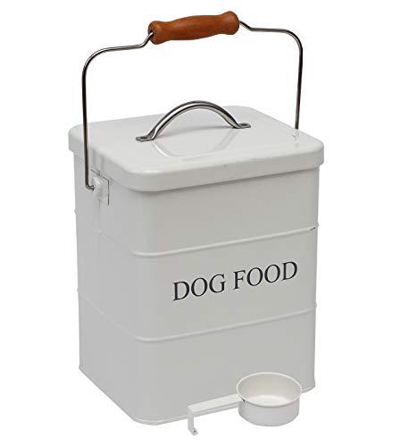 Geyecete- Cajas Almacenamiento de Alimentos y golosinas para Animales, con Mango de Madera y herméticas Tapa, Acero Carbono Revestido Contenedor de Comida para Perros -Capacidad 3kgs-Blanco