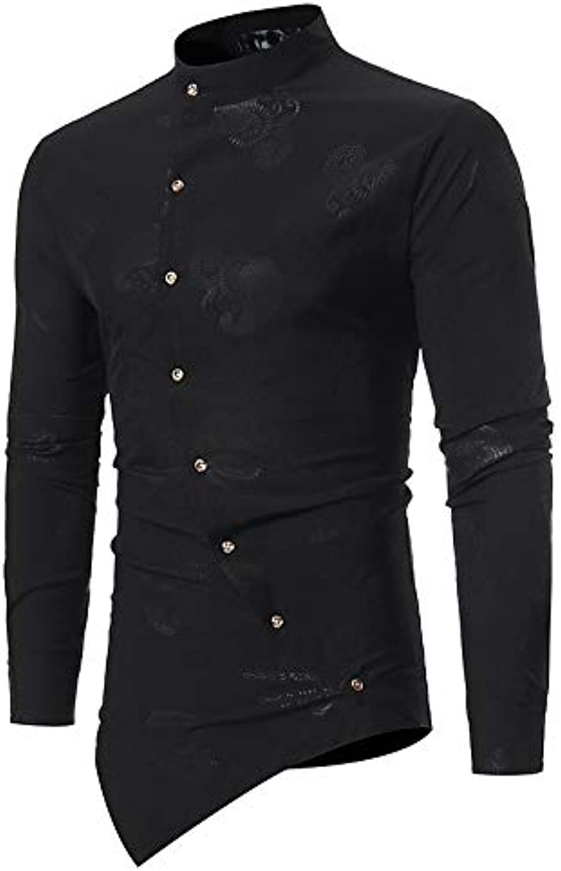 Men's Slim Shirt  Floral Standing Collar