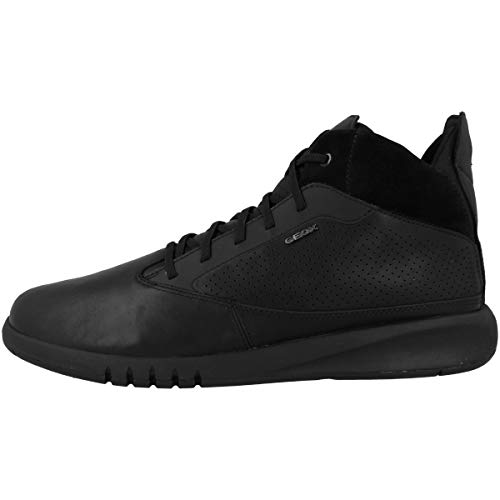 Geox Herren High-Top Sneaker AERANTIS, Männer Sneaker,Sportschuh,Schnürschuh,Sneaker-Stiefel,mid Cut,SCHWARZ,40 EU / 6.5 UK