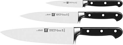 """Zwilling Professional """"S"""" Messer Set 3tlg, 35602-000-0, (Rostfreier Spezialstahl, Zwilling Sonderschmelze, genietet, Vollerl, Kunststoff-Schalen) schwarz"""
