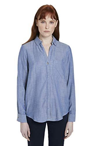 TOM TAILOR Damen n Bluse Blusen, Shirts & Hemden Hemdbluse aus doppelseitiger Baumwolle Kentucky Blue Melange, 36