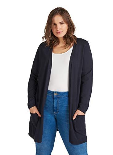 Zizzi Damen Große Größen Cardigan Offen V-Ausschnitt Lang Strickjacke , Farbe: Blau, Gr. 46-48 (M)