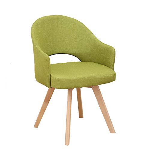 Silla de oficina de tela para escritorio, sillas de comedor, sillón retro, asiento acolchado con patas de madera maciza para el hogar, oficina, escritorio (color: verde)