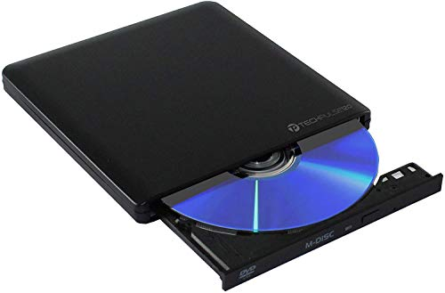 techPulse120 Unidad externa USB C 3.1 DVD CD grabadora externa M-Disc Superdrive portátil DVD-RW CD-RW para todos los Apple con procesador M1 MacBook / Pro Mac Mini iMac Aluminio Negro