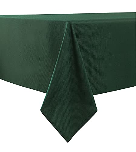 Biscaynebay Textured Fabric Tablecloths 52 X 70 Inches Rectangular, Hunter Green Water Resistant Spill Proof Tablecloths for Dining, Kitchen, Wedding and Parties, etc. Machine Washable