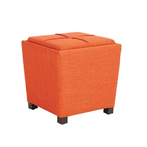 OSP Home Furnishings Metro 2-Piece Ottoman Set, Tangerine