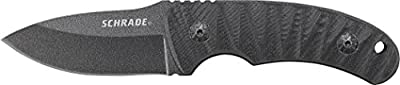 Schrade SCHF57 6.3in Steel Full Tang Fixed Blade Knife with 2.6in Drop Point Blade and G-10 Handle for Outdoor Survival, Camping and EDC