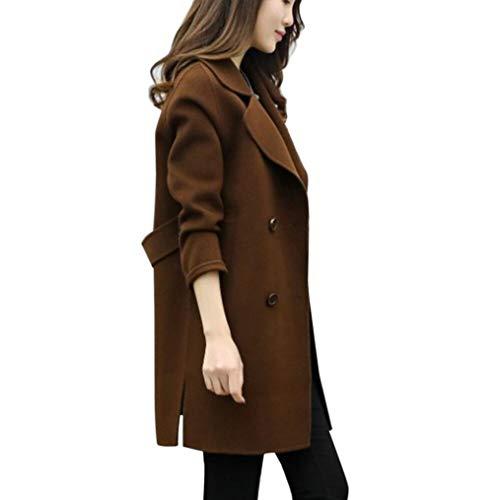 Eastery Dames Coat Elegante lange wintermantel met twee rijen lange mouwen comfortabele maten mode vrije tijd dikke warme hoogwaardige wollen jas bovenkleding