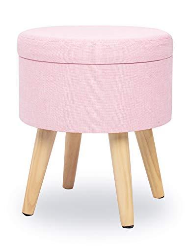 Suhu Redondo Puff Baúl Taburete Asiento Otomana Almacenamiento Elegante Patas de Madera Maciza Asiento Rosa