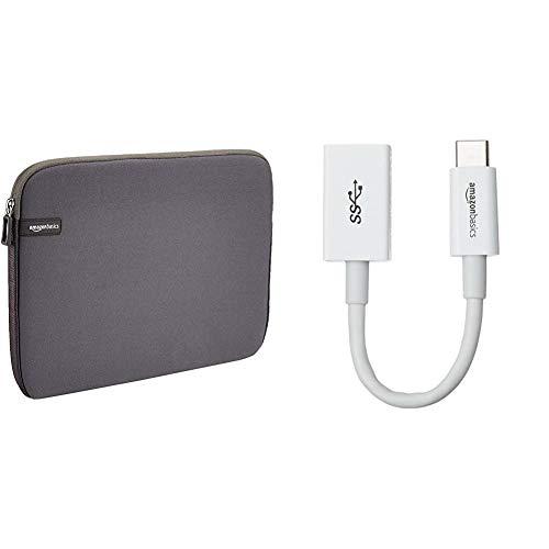 AmazonBasics 13.3-Inch Laptop Sleeve - Grey & USB Type-C to USB 3.1 Gen1 Female Adapter - White