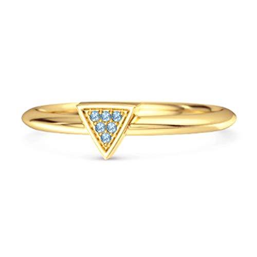 Shine Jewel Multi Elija su Piedra Preciosa 0.12Ct Amor Y Orgullo Anillo de Plata de Ley 925 Chapado en Oro Amarillo apilable (14, topacio Azul Suizo)