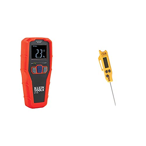 Klein Tools ET140 Pinless Moisture Meter for Non-Destructive Moisture Detection in Drywall, Wood, and Masonry; Detects & UEi Test Instruments PDT650 Folding Pocket Digital Thermometer,Yellow