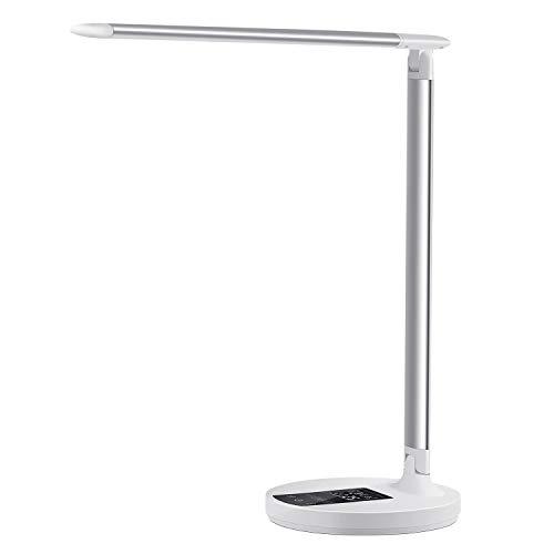 LED-Schreibtischlampe, Touch-Steuerung, dimmbar, Büro-Lampe mit Kalender, Uhr, Thermometer, 5 Leuchtmodi, stufenloses Dimmen für Arbeit, Studium, Nacht, Aufwachen