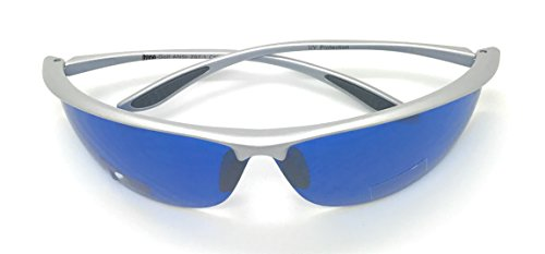 MyUV Golf Ball Finder Blue Lens Sunglasses%100 UV Production (Silver, 63)