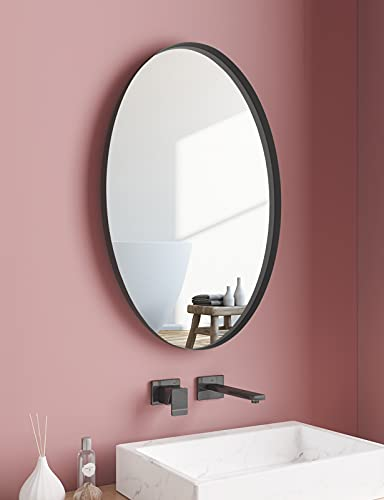 NXHOME Oval Metal Framed Wall Mirror-Bathroom Decorative Wall Mounted Mirror 18×28in Black Vanity Mirror for Living Room Entryway Bedroom…