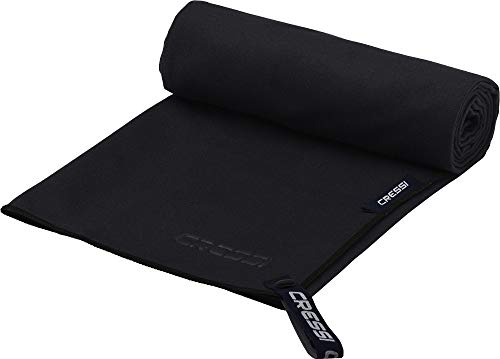 Cressi Microfibre Fast Drying Toalla Sport, Unisex Adulto, Negro, 160x80cm