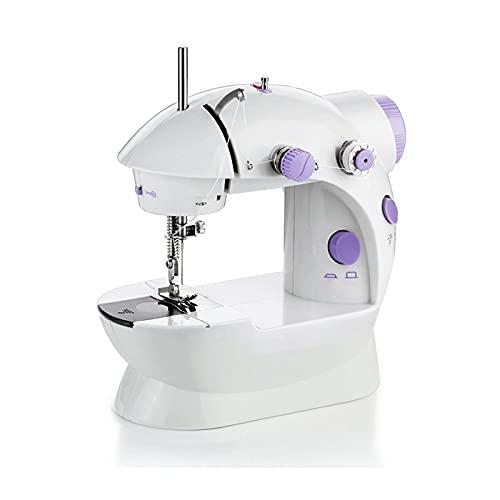 LIUXING-Home Mini Máquina De Coser Mini máquina de Coser eléctrica Multifuncional para el hogar Máquina De Coser para Principiantes (Color : White, Size : 20 * 21cm)