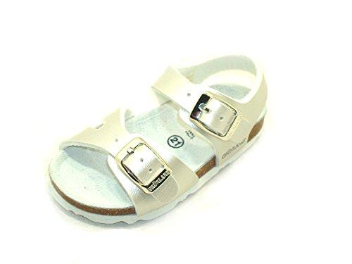 GRÜNLAND Sandalette mit zwei Schnallen für Mädchen Air SB0026 - Perle/Rosa, Weiß - smoked pearl - Größe: 24 EU