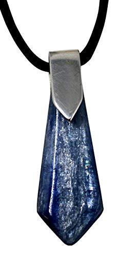 Disthen Anhänger Pfeil 4 cm mit 925er Silberöse und mit Lederband, Edelstein Anhänger Kyanit Cyanit Sapparit blau
