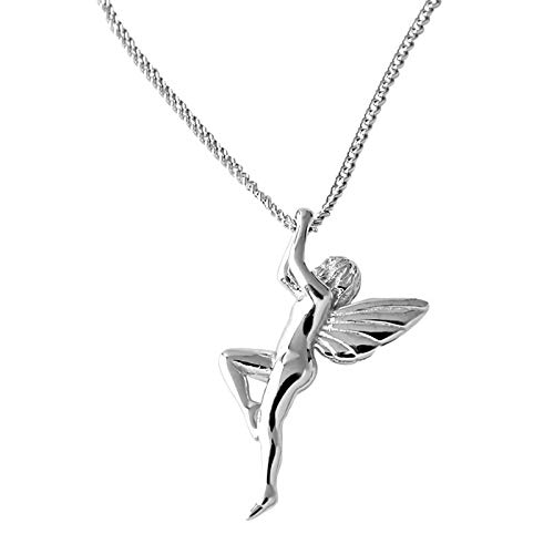 Women Necklace 925 Sterling Silver, Angel Fairy Long Chain Pendant Necklaces Women jewellery Accesorios, Gifts for Wife Mum Friend Birthday Anniversary Day