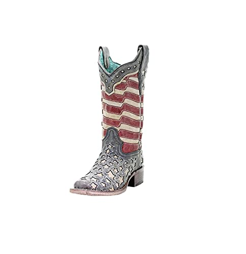 CORRAL Women's A3758 Inlay Square Toe Handcrafted Western Boots, Blue Jean Stars and Stripes, Size: 8, Width: M (A3758-LD-M-8)