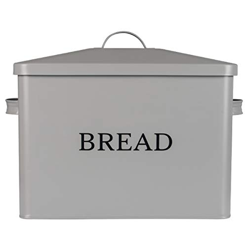 Extra Large Gray Bread box Vertical Vintage Metal Bread Bin With Lid - Holds 2 Loaves - Countertop Space Saving Farmhouse Breadbox Bread Holder Container Counter Organizer Matches Most Decor Theme