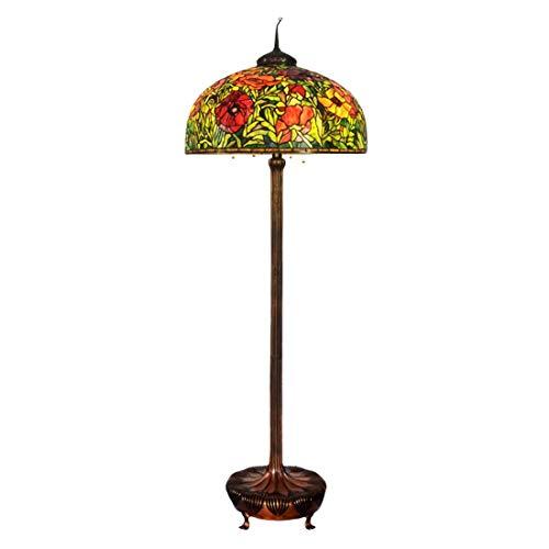 Tiffany Lámparas de pie 26'creativa Tiffany amapola de vidrio de color lámpara de pie de cobre puro retro American Classic Rose Hotel Villa sala de estar de la lámpara de pie