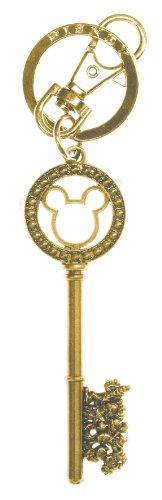 Disney Llavero de peltre con cuentas de gema dorada