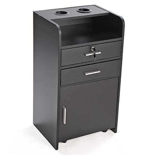 JAXPETY Rolling Beauty Salon 3-Layer Storage Cabinet, Beauty Salon Spa Equipment Salon Station w/Lockable Wood Drawer (Black)