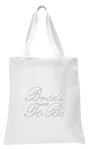 Varsany White Bride To Be Luxury Crystal Bride Tote bag wedding party gift bag Cotton by CrystalsRus