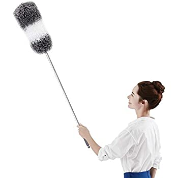"""BOOMJOY Telescoping Duster, 100"""" Extendable Cobweb Duster, Scratch-Resistant Cover, Stainless Steel Pole, Detachable Bendable Head, Washable …"""