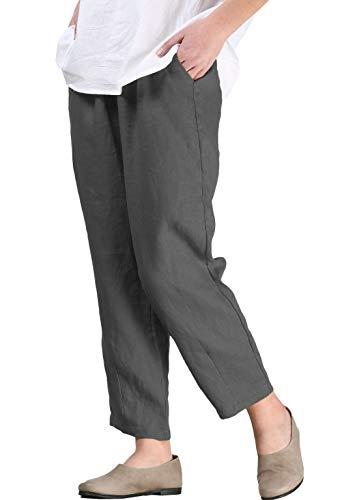 FTCayanz Donna Cropped Pantaloni Larghi Estivi Casual Pantalone in Lino Grigio XL
