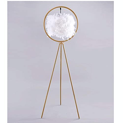 YQDSY Lámpara de Pie Lámparas de Novedad, Lámpara de Pie Plumas de Diseño de Plumas Sala de Estar Nórdica Dormitorio Cálida de Noche Lámpara de Mesa Vertical Dorado Creativo de Oro