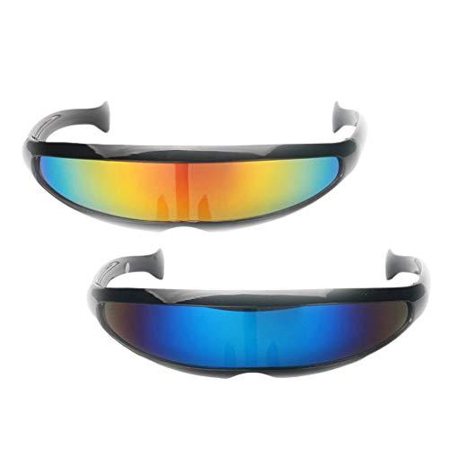 Harilla Paquete de 2 Gafas de Sol de Espejo Futuristas de Novedad para Adultos Y Nios