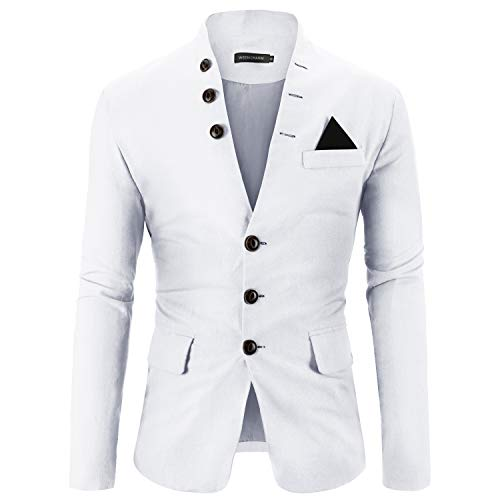 WEEN CHARM Mens Casual Slim Fit Standing Collar Blazer 3 Button Suit Sport Jackets White