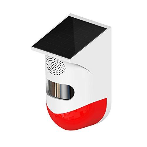 Alarma de luz de seguridad solar, detector de sensor de movimiento LED RC PIR, batería incorporada, advertencia de ahorro de energía 120dB sirena fuerte, luz solar para el hogar o al aire libre