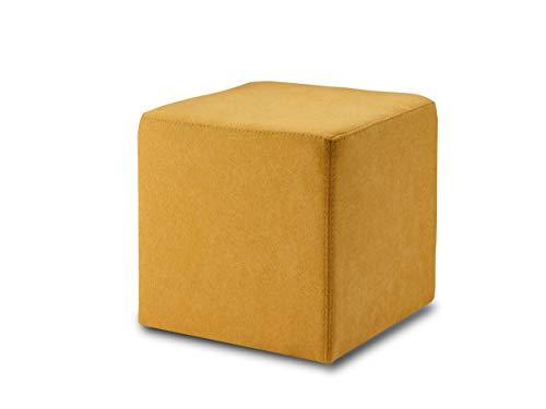 ESTA-Design KUBI, Pouf, Hocker, Sitzwürfel, 40 x 40 cm, PU-Schaum, Pflegeleichter Bezug Möbelstoff, stabile Füße, bis 150 kg, (senf)