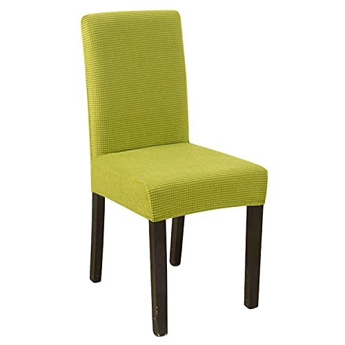 NLCYYQ Fundas elásticas para silla de comedor, forro polar, fundas de silla de respaldo alto, fundas protectoras para sillas gruesas para banquetes de boda (verde, 2 unidades)
